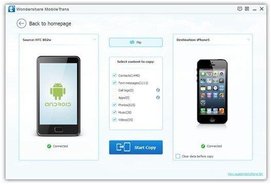 1-Click Phone Data Transfer with Wondershare MobileTrans 2