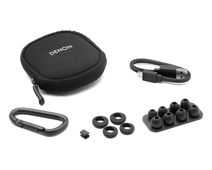 Denon AH-C160W Wireless In-Ear Sports headphones - complete pack with accessories
