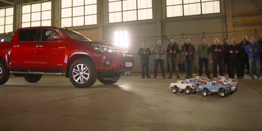 How many Remote control cars does it take to pull a Toyota Hilux