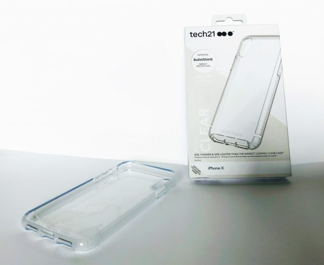 tech21 pure clear iphonex case and box