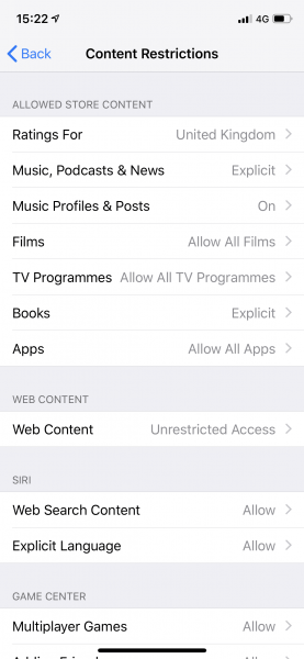 iOS12 - Screen Time - Content Restrictions