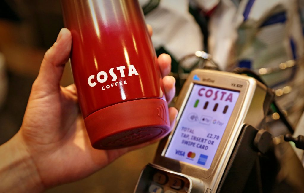 costa contactless coffee cup with bpay