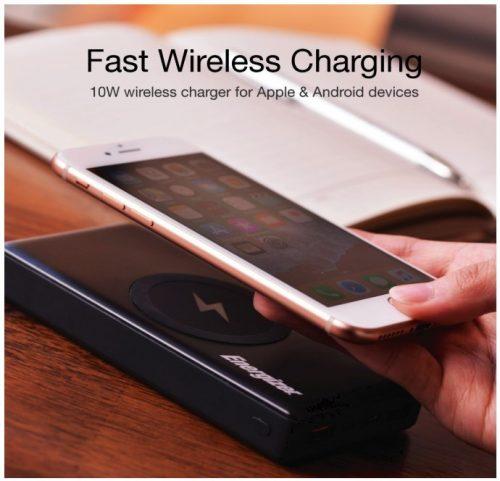 Energizer 10000mAh wireless portable Qi Charger Power Bank