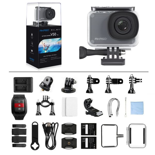 AKASO V50 Pro action camera with all accessories