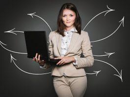 woman laptop data flows