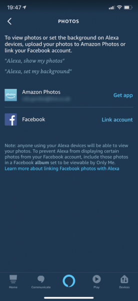 alexa ios app photo settings