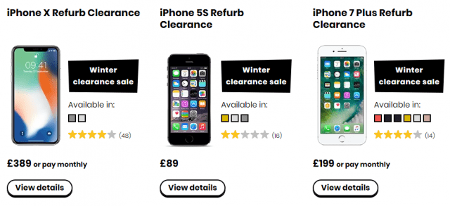 giffgaff winter sale refurbished handsets options iphone x iphone 7 plus