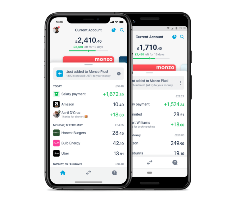 personal finance apps - monzo