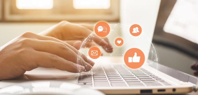 social media icons laptop