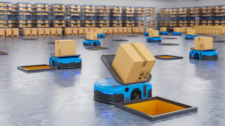 An army of AI robots efficiently sorting hundreds of parcels per ho