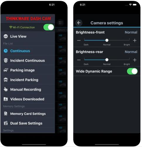 Thinkware F770 - dashcam app homescreens
