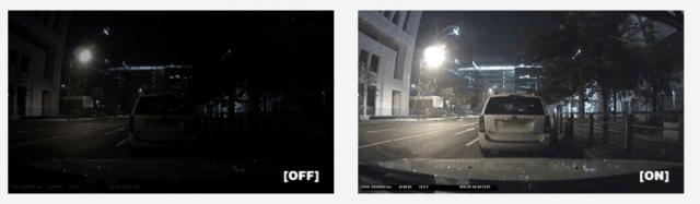 Thinkware F770 - super night vision on off comparison