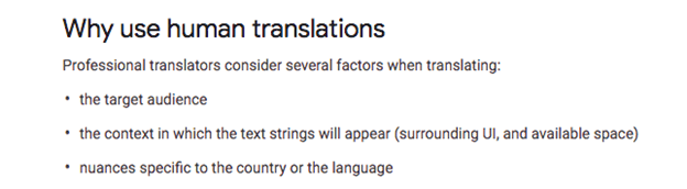 Google Translate in Mobile Apps - Why use human translations