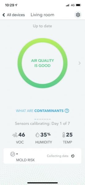airthings wave mini app air quality dashboard