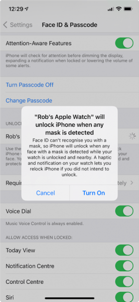 Unlock Your iPhone Wearing A Mask - Enabled